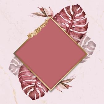 Vetor de quadro de losango com folhas rosa
