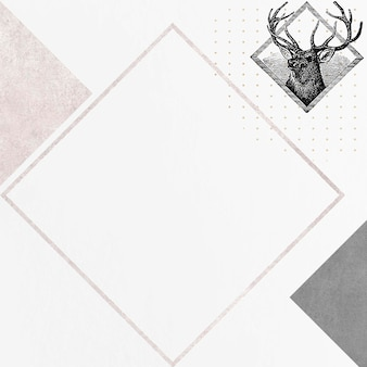 Vetor de quadro de losango de veado em branco