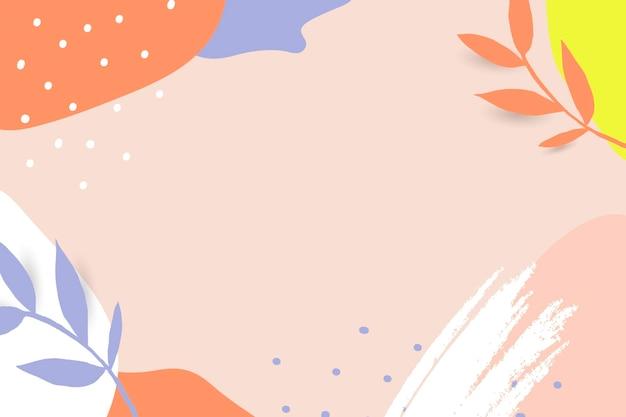 Vetor de quadro de memphis com folhas coloridas