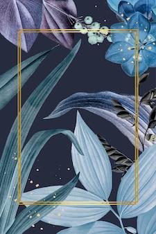Vetor de quadro de retângulo com folhas azuis
