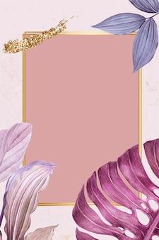 Vetor de quadro de retângulo com folhas roxas