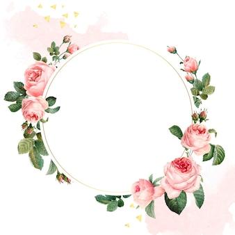 Vetor de quadro de rosas rosa redondo em branco