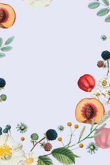 Vetor de quadro decorado com flores e frutas