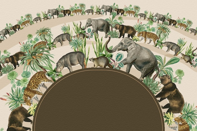 Vetor de quadro em semicírculo de animais da selva com espaço de design