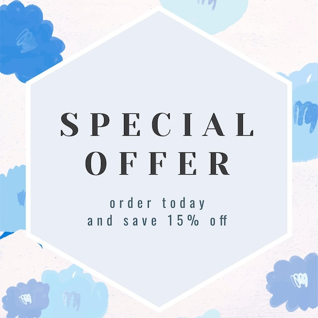 Vetor de quadro floral de promoção de texto de oferta especial