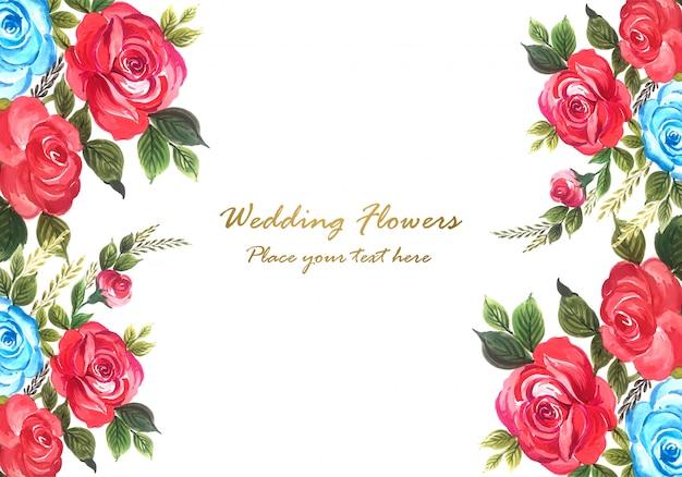 Vetor de quadro floral decorativo lindo aniversário de casamento