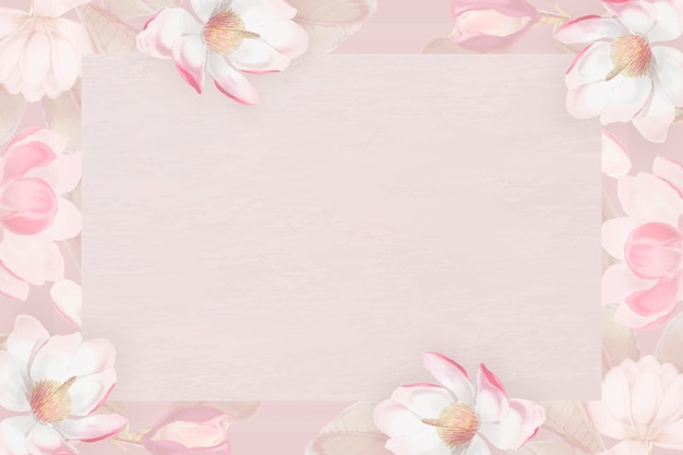 Vetor de quadro floral rosa desabrochando