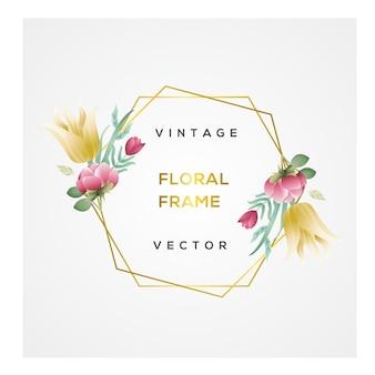 Vetor de quadro floral vintage