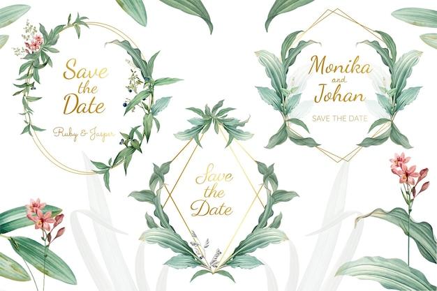 Vetor de quadros de convite de casamento floral verde