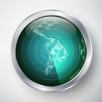 Vetor de radar. américa do sul. interface de usuário futurista hud. sci-fi futurista