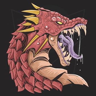 Vetor de raiva de cabeça de dragão