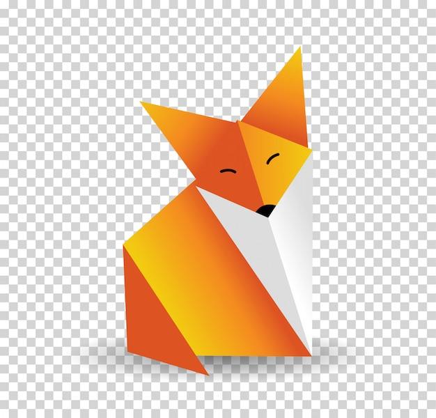 Vetor de raposa de origami.