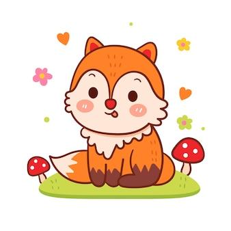 Vetor de raposa fofa com cogumelo