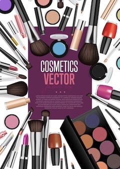 Vetor de realismo de variedade de produtos cosméticos