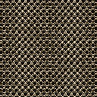 Vetor de recursos de design de fundo com padrão japonês dourado sem costura
