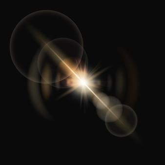 Vetor de reflexo de lente amarela com efeito de iluminação fantasma de anel