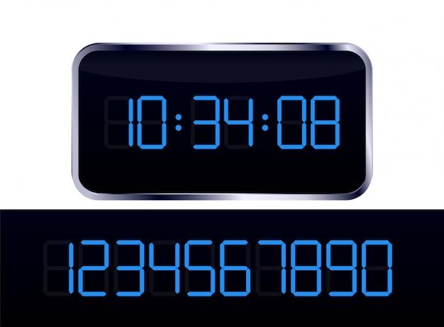 Vetor de relógio digital azul e conjunto de números