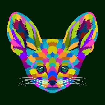 Vetor de retrato de arte pop de cão colorido