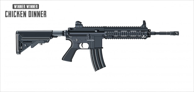 Vetor de rifle de assalto isolado no fundo branco