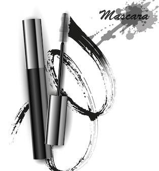 Vetor de rímel e pincelada, beleza e fundo cosmético. ilustração vetorial.