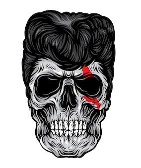 Vetor de rockabilly do crânio