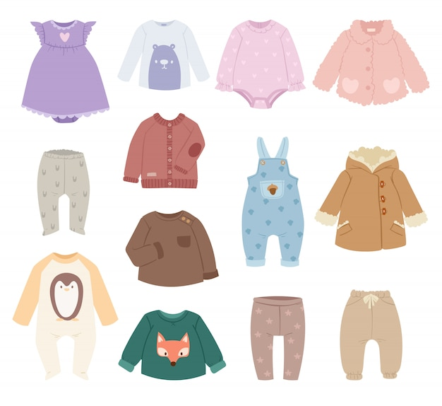 Vetor de roupas de bebê criança crianças.
