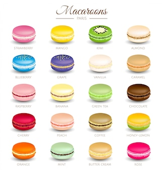 Vetor de sabores de macaroons coloridos