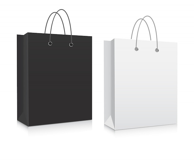 Vetor de sacos de compras em branco de papelão.