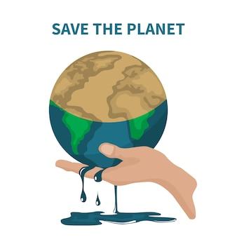 Vetor de salvar o planeta sobre o aquecimento global