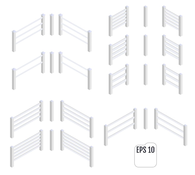 Vetor de seções de cerca branca isométrica