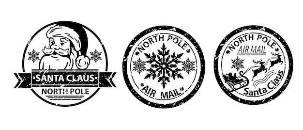 Vetor de selo de papai noel de natal definido inverno pólo norte correio postal feriado vintage carta sinal