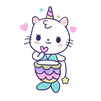 Vetor de sereia gato kawaii com mini coração e estrela