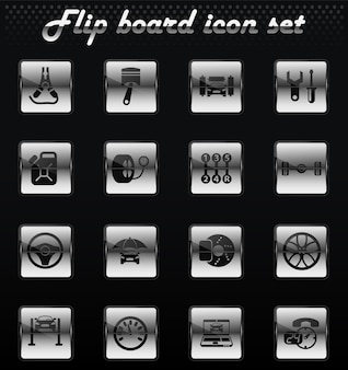 Vetor de serviço de carro virar ícones mecânicos para design de interface de usuário