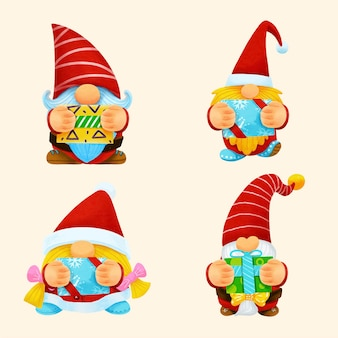 Vetor de set.illustration aquarela de natal de gnomo. Vetor Premium