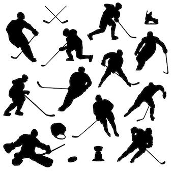 Vetor de silhueta de esporte de patinação no gelo