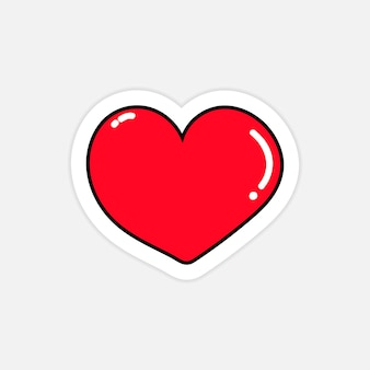 Vetor de símbolo de coração vermelho brilhante