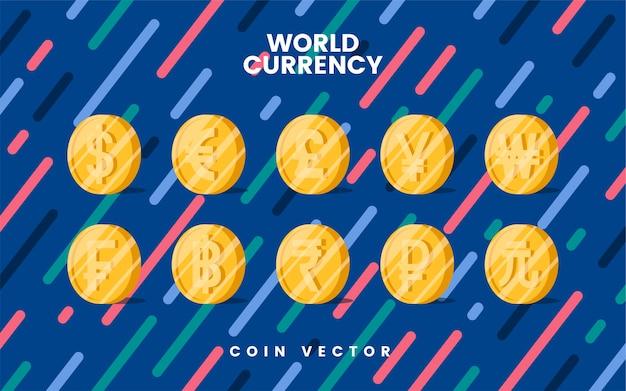 Vetor de símbolo de moeda de moeda mundial