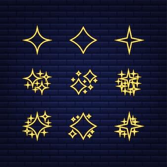 Vetor de símbolos de brilhos de ouro. ícone de néon. o conjunto de ícone de brilho de estrelas do vetor original. ilustração vetorial.