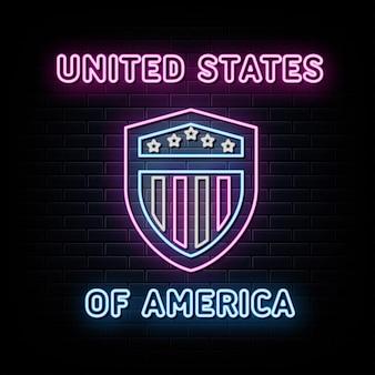 Vetor de sinais de néon da bandeira americana escudo branco