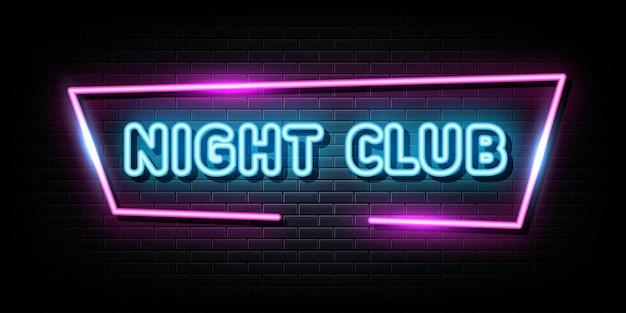 Vetor de sinais de néon de clube noturno sinal de néon de modelo de design