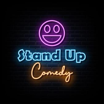 Vetor de sinais de néon de comédia stand-up. modelo de design sinal de néon
