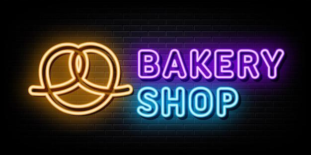Vetor de sinais de néon de logotipo de loja de padaria