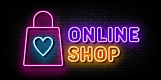 Vetor de sinais de néon de logotipo de loja online