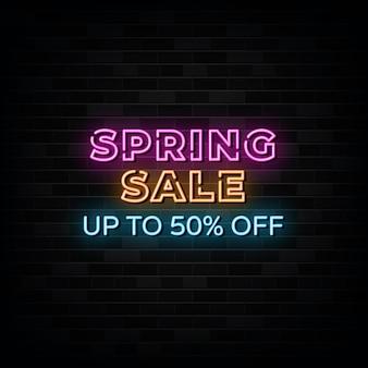 Vetor de sinais de néon de venda de primavera