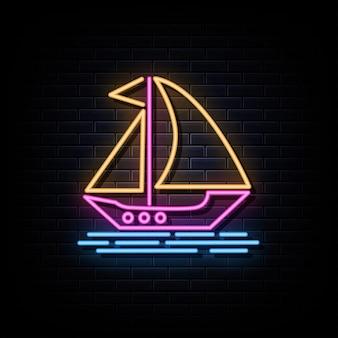 Vetor de sinais de néon para barco à vela modelo de design sinal de néon