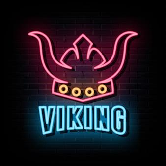 Vetor de sinais de néon viking modelo de design de sinal de néon