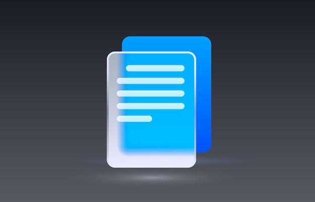 Vetor de sinal de coleção de ícone transparente de documento de vidro
