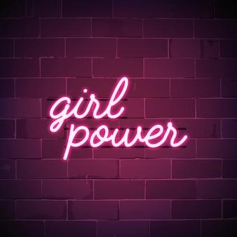Vetor de sinal de néon do poder da menina