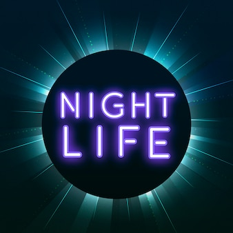 Vetor de sinal de néon roxo vida nocturna