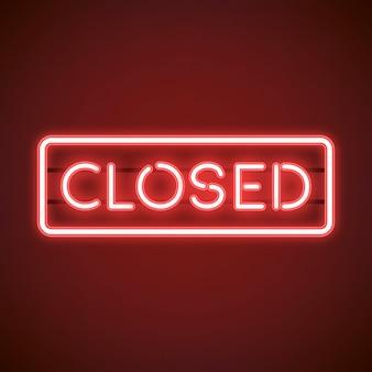 Vetor de sinal de néon vermelho fechado